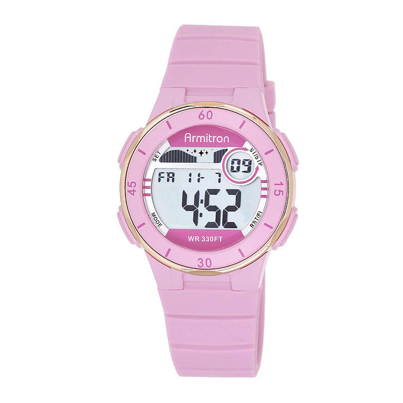 Armitron Pro-Sport Womens Pink Resin Strap Chronograph Sport Watch 45/7049PNKJ