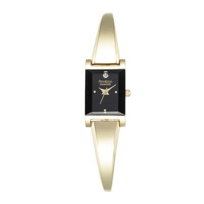 Armitron® Now® Womens Diamond-Accent Rectangular Bangle Watch 75/5322BKGP