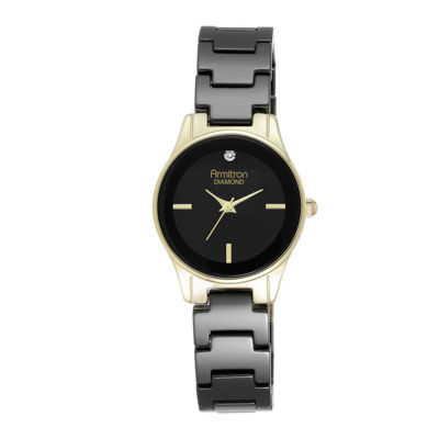 Armitron® Now® Womens Black Ceramic Dress Watch 75/5348BKGP