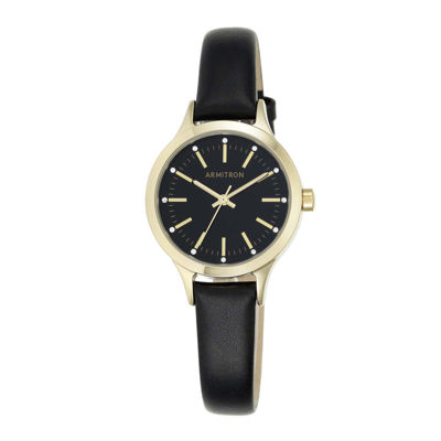 Armitron® Womens Crystal-Accent Black Leather Strap Watch 75/5372BKGPBK