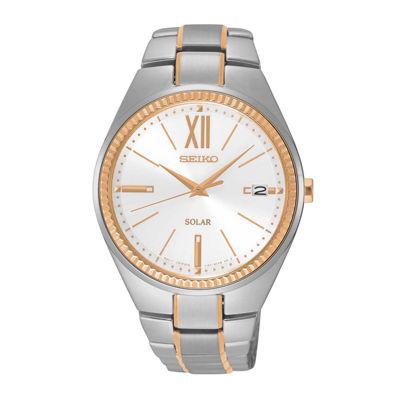 Seiko® Recraft Womens Two-Tone Solar Bracelet Watch SNE878