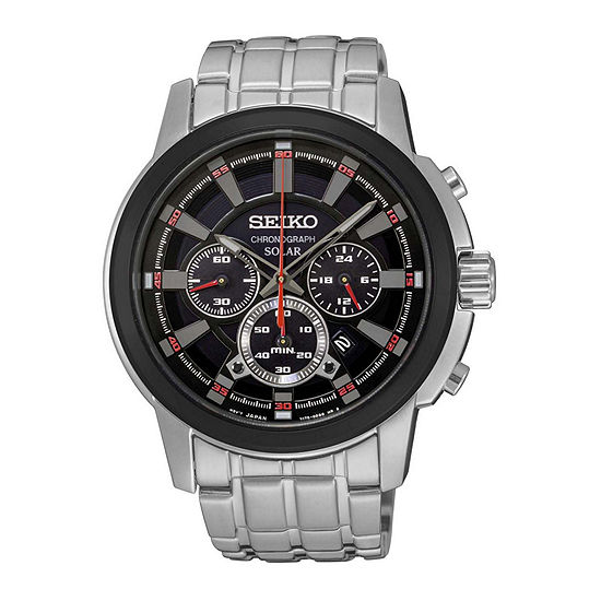 Seiko Mens Silver Tone Strap Black Dial Solar Chronograph Watch Ssc389