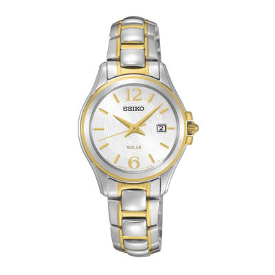Seiko® Womens Two-Tone Silver-Tone Dial Bracelet Watch SUT250