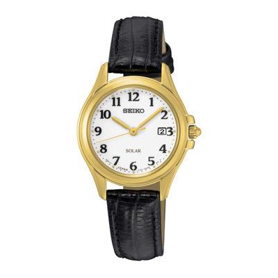 Seiko® Womens Black Calfskin White Dial Bracelet Watch SUT254