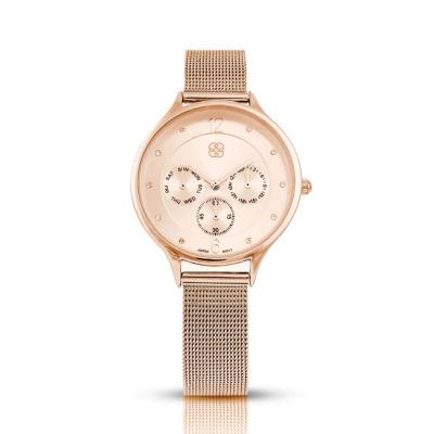 Daisy Fuentes Womens Rose Goldtone Strap Watch-Df120rg