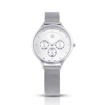 Daisy Fuentes Womens Silver Tone Strap Watch-Df120sl