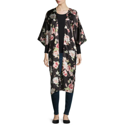 Mixit Long Floral Elbow Sleeve Floral Kimono
