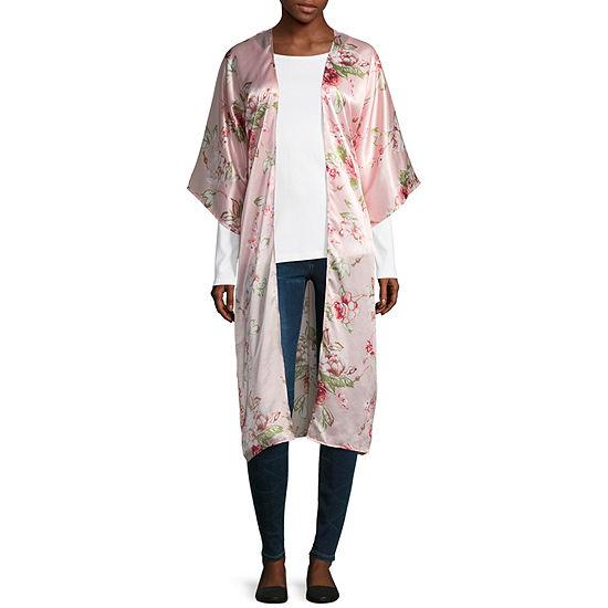 Mixit Long Floral Womens Elbow Sleeve Kimono
