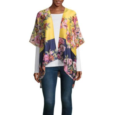 Mixit Floral Elbow Sleeve Floral Kimono