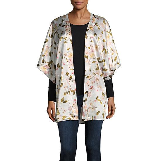 Mixit Floral Womens Elbow Sleeve Kimono
