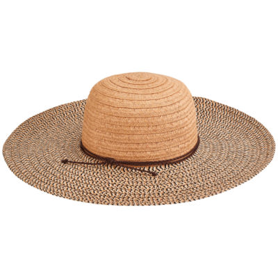 San Diego Hat Company Women's Paperbraid Solid Crown Mix Sun Brim