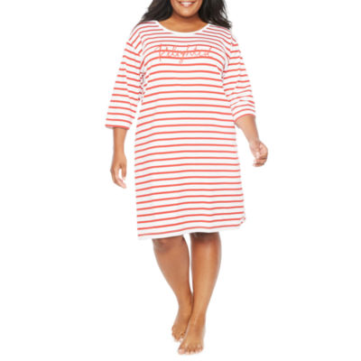 Tracee Ellis Ross for JCP Knit 3/4 Sleeve Crew Neck Stripe Nightshirt - Plus