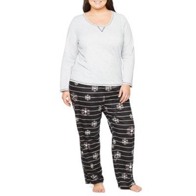 Sleep Chic Knit Top with Microfleece Bottom Pajama Set-Plus