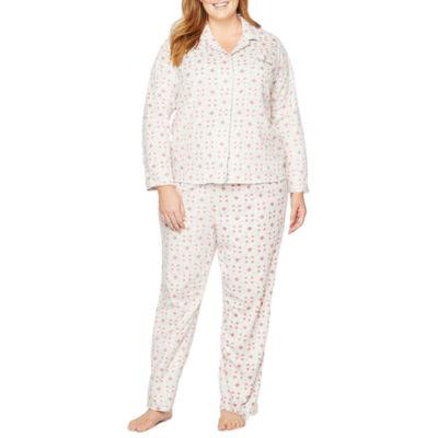 Adonna Microfleece Notch Collar Pant Pajama Set-Plus