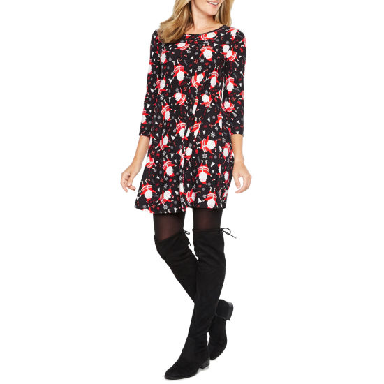 North Pole Trading Co. 3/4 Sleeve Holiday Shift Dress