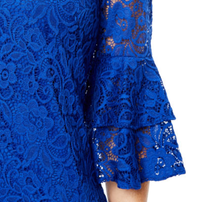 Perceptions Elbow Bell Sleeve Lace Shift Dress