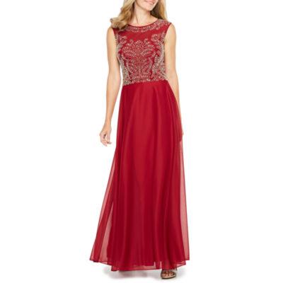 Jackie Jon Short Sleeve Beaded Evening Gown