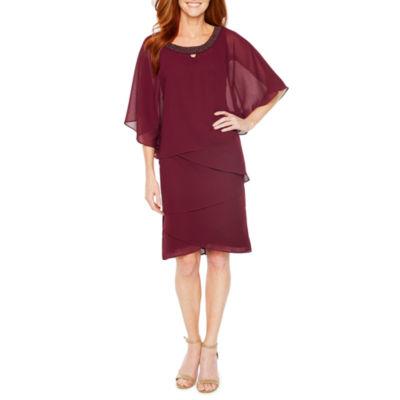 Maya Brooke Short Sleeve Beaded Sheath Dress
