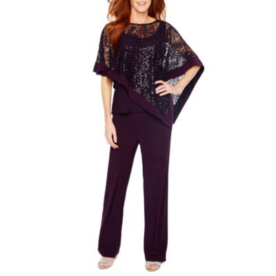 R & M Richards Sequin Lace Poncho with Pant