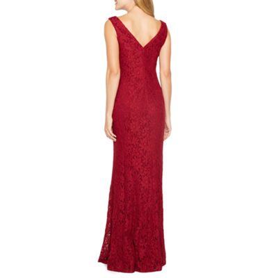 One by Eight Sleeveless Lace Evening Gown