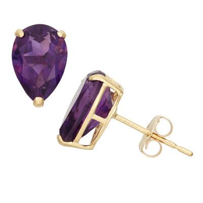 Genuine Purple Amethyst 10K Gold 9mm Stud Earrings