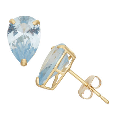 Lab Created Blue Aquamarine 10K Gold 9mm Stud Earrings