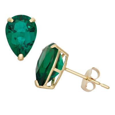Pear Green Emerald 10K Gold Stud Earrings