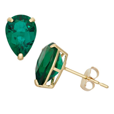 Lab Created Green Emerald 10K Gold 9mm Stud Earrings