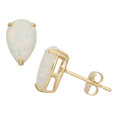 Lab Created White Opal 10K Gold 9mm Stud Earrings