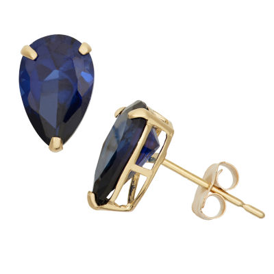 Lab Created Blue Sapphire 10K Gold 9mm Stud Earrings