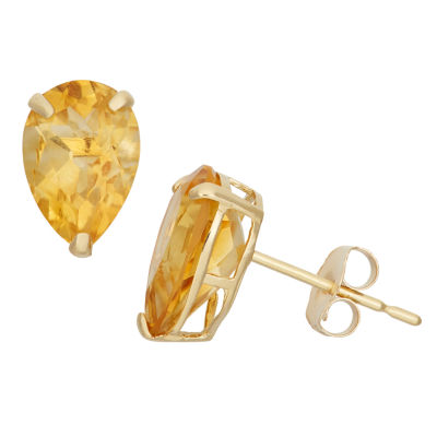 Genuine Yellow Citrine 10K Gold 9mm Stud Earrings