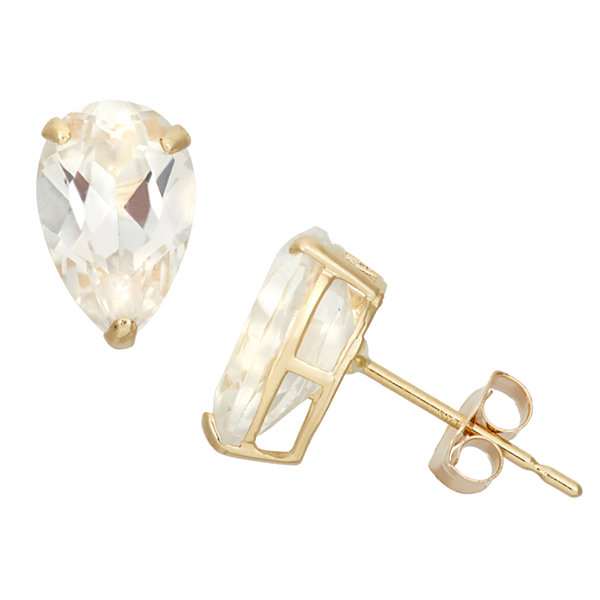 Pear White Sapphire 10K Gold Stud Earrings