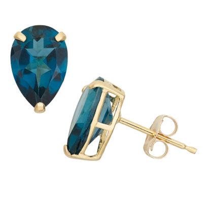 Pear Blue Blue Topaz 10K Gold Stud Earrings