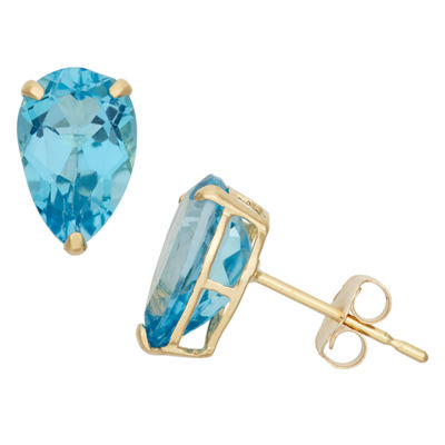 Genuine Blue Topaz 10K Gold 9mm Stud Earrings