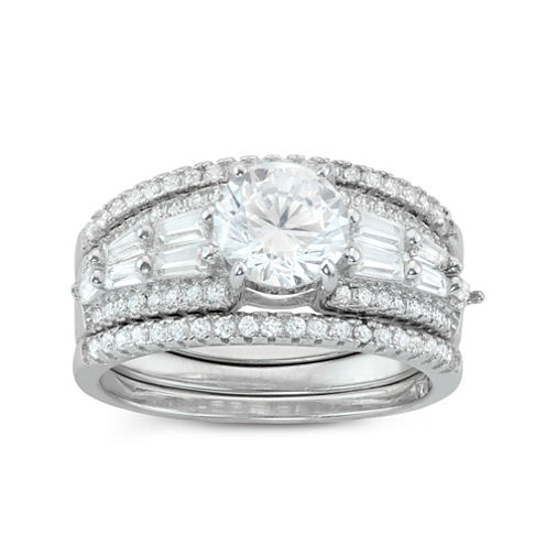 Womens 2 CT. T.W. White Cubic Zirconia Sterling Silver Bridal Set