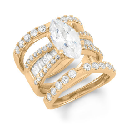 Womens 1 CT. T.W. White Cubic Zirconia 14K Gold Over Silver Bridal Set