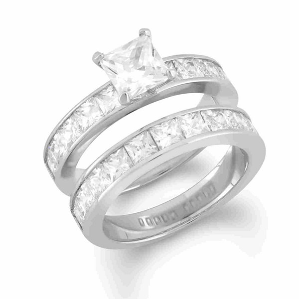 Womens 6 Ct.T.W. White Cubic Zirconia Sterling Silver Bridal Set