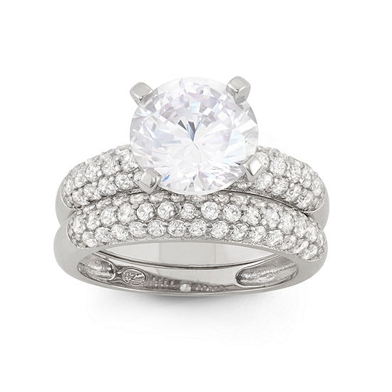 Womens 1 CT. T.W. White Cubic Zirconia Sterling Silver Round Bridal Set