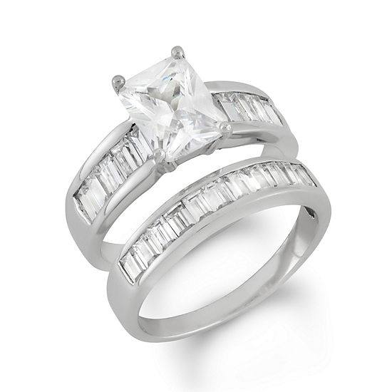Womens 3 CT. T.W. White Cubic Zirconia Sterling Silver Square Bridal Set