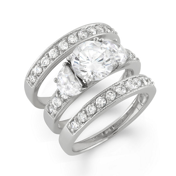Womens 3 CT. T.W. White Cubic Zirconia Sterling Silver Bridal Set