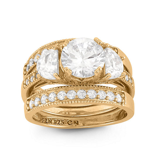 Womens 3 Ct Tw White Cubic Zirconia 14k Gold Over Silver Round Bridal Set