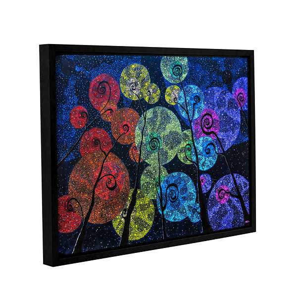 Brushstone In Rainbows Gallery Wrapped Floater-Framed Canvas