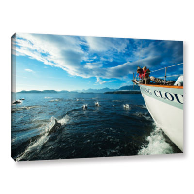 Brushstone In The Fray Dolphins Gallery Wrapped Canvas