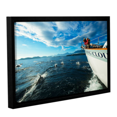 Brushstone In The Fray Dolphins Gallery Wrapped Floater-Framed Canvas