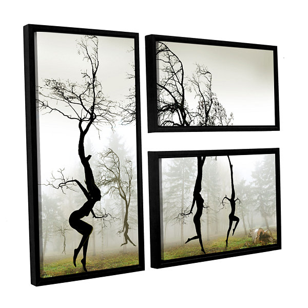 Brushstone In The Mist (026) 3-pc. Flag Floater Framed Canvas Wall Art