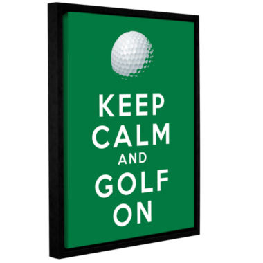 Brushstone Keep Calm And Golf On Gallery Wrapped Floater-Framed Canvas Wall Art