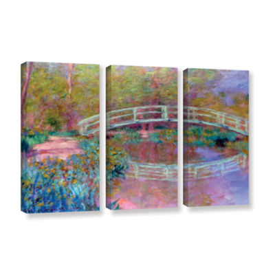 Brushstone Japanese Bridge 3-pc. Gallery Wrapped Canvas Wall Art