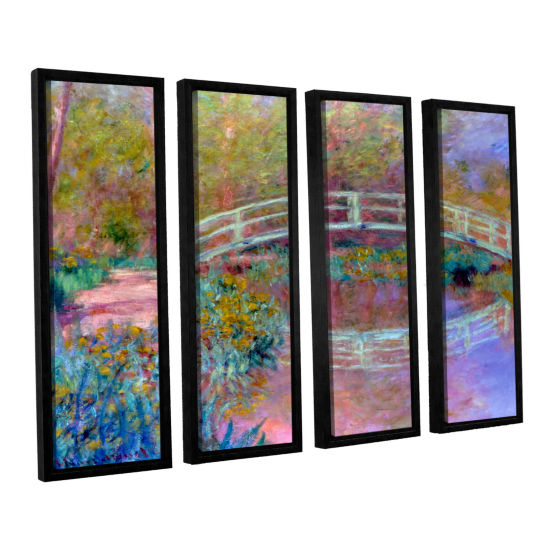 Brushstone Japanese Bridge 4-pc. Floater Framed Canvas Set