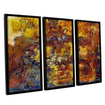 Brushstone Japanese Fottbridge 3-pc. Floater Framed Canvas Wall Art