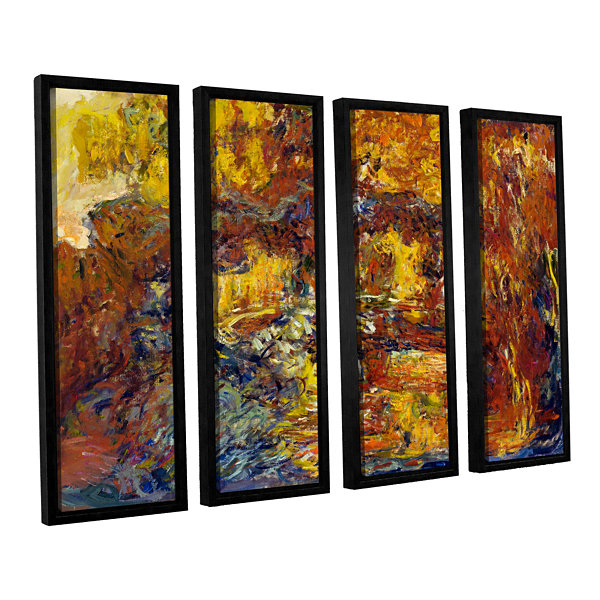 Brushstone Japanese Fottbridge 4-pc. Floater Framed Canvas Set